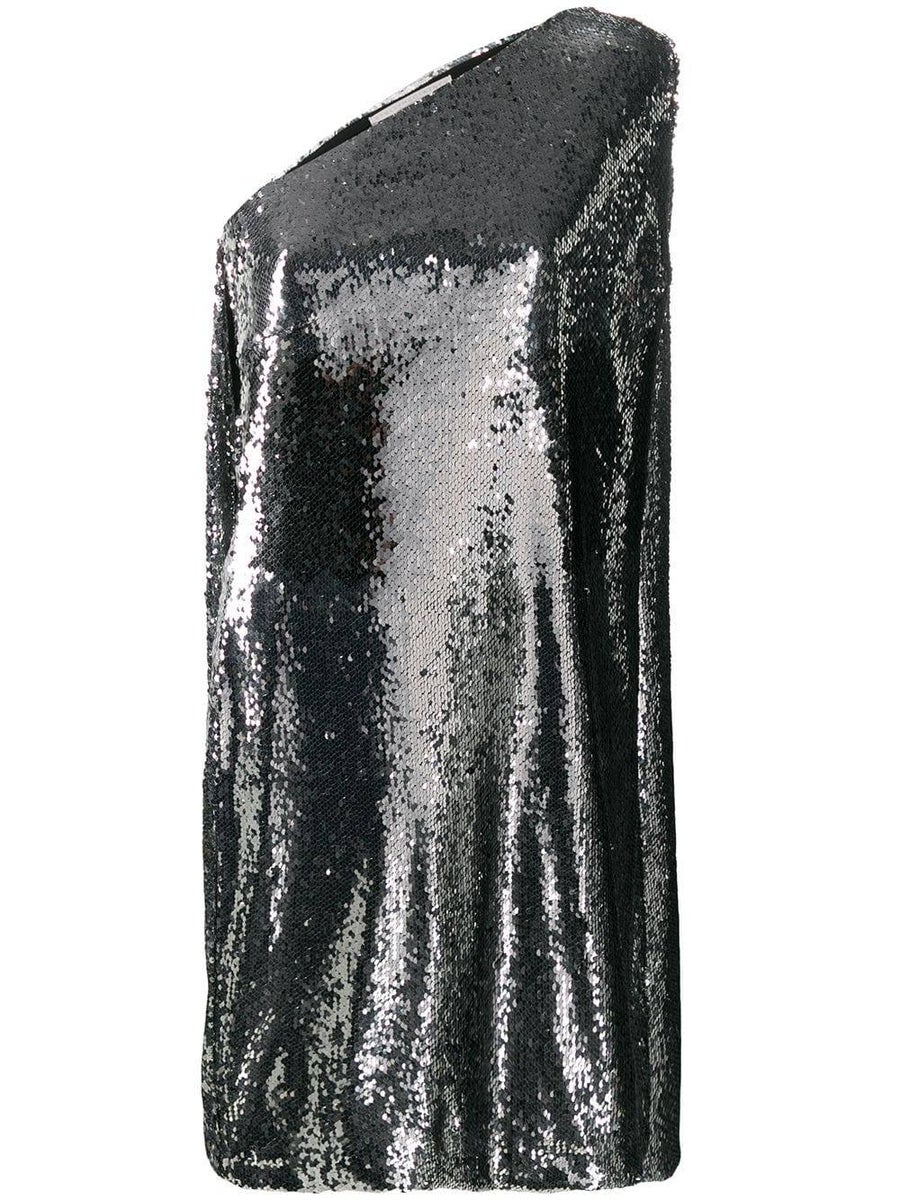 5 Trendy New Years Eve Outfits for Women and Men, sequin dress, STELLA MCCARTNEY silver sequin one shoulder dress