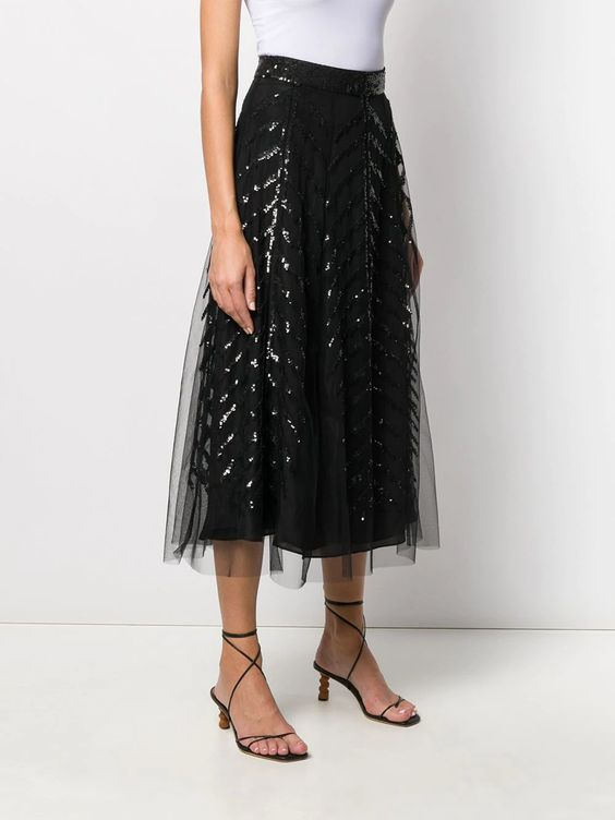 5 Trendy New Years Eve Outfits for Women and Ment, tulle skirt, Temperly Londo sequinned black tulle skirt