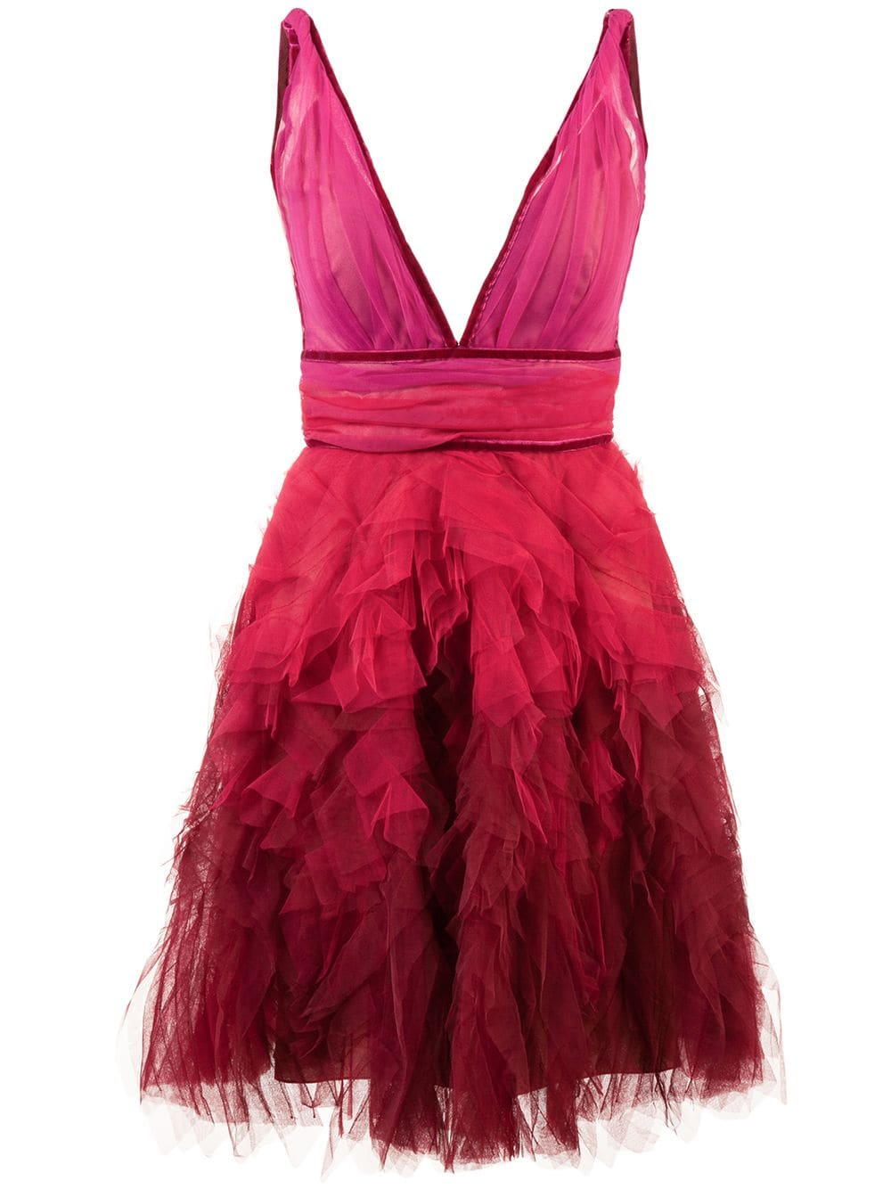 5 Trendy New Years Eve Outfits for women and men, tulle dress, MARCHESA NOTTE ruffle tulle pink dress