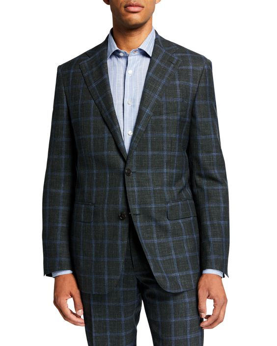 What to Wear this Holiday Season for men, men's plaid suits, Arturo Munro Men's green plaid Suit