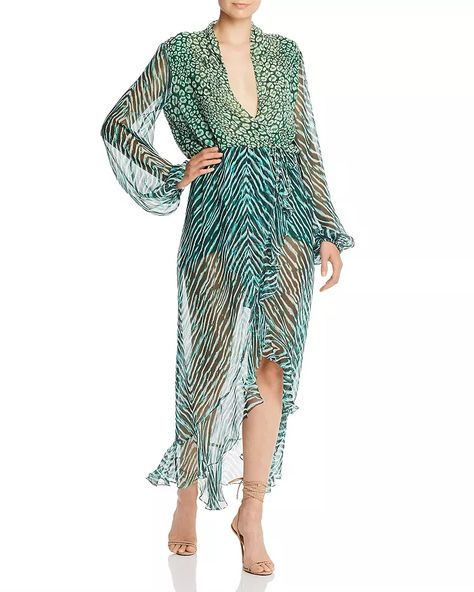 Stylish Looks for Holiday Travel, holiday resort outfits, Rococo Sand leopard and zebra chiffon green maxi dress