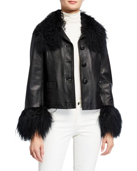 Stylish Looks for Holiday Travel, women's ski and mountain outfit, Saks Potts Dorthe lamb leather black shearling collar and cuff jacket