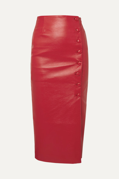 Stylish Looks for Holiday Travel, women's skiing mountain holiday outfit, MATERIEL button embellished faux leather red midi skirt