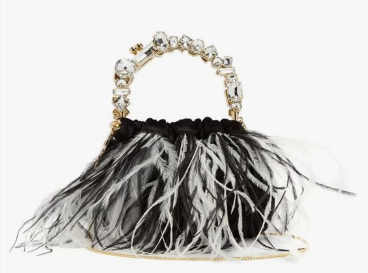 What to Wear this Holiday Season, feathers, feather purse, ROSANTICA Diana feather-trimmed velvet crystal clutch