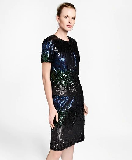 What to Wear this Holiday Season, sequin dresses, Brooks Brothers ombre sequin shift dress in blue and black