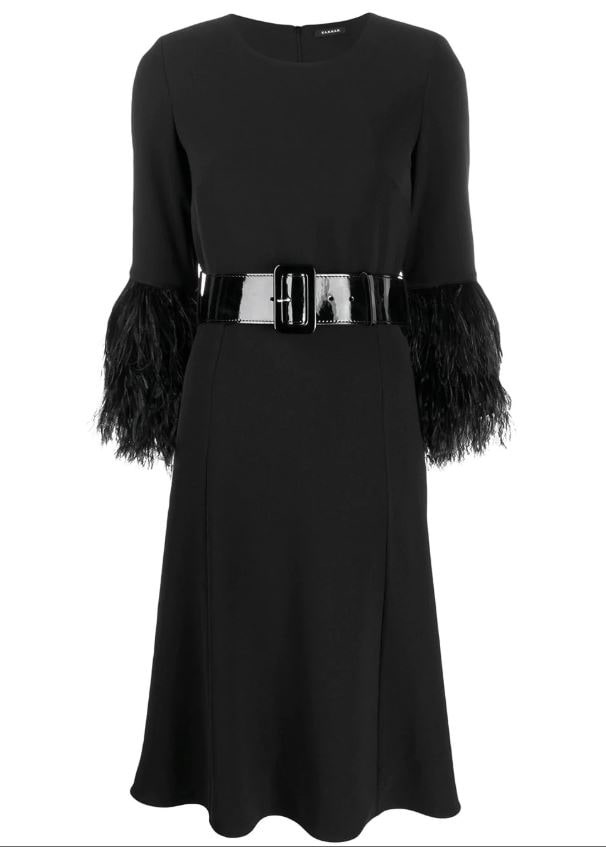 What to Wear this Holiday SeasonP.A.R.O.S.H. feather trim black midi dress