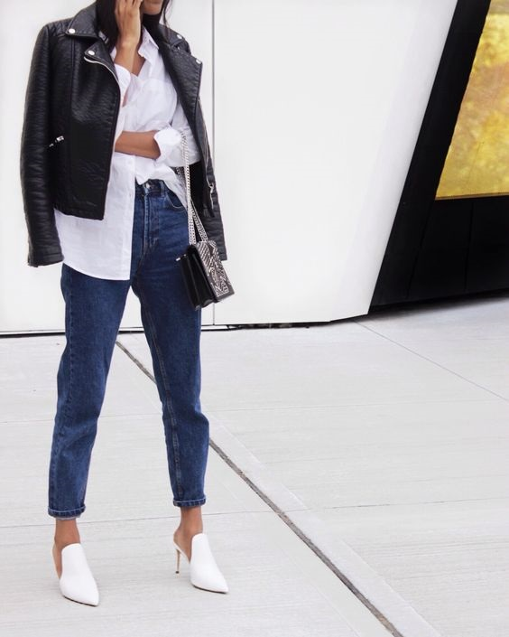 How to Create a Year-Round Capsule Wardrobe with 10 Staples, leather jacket, black leather jacket and jeans outfit