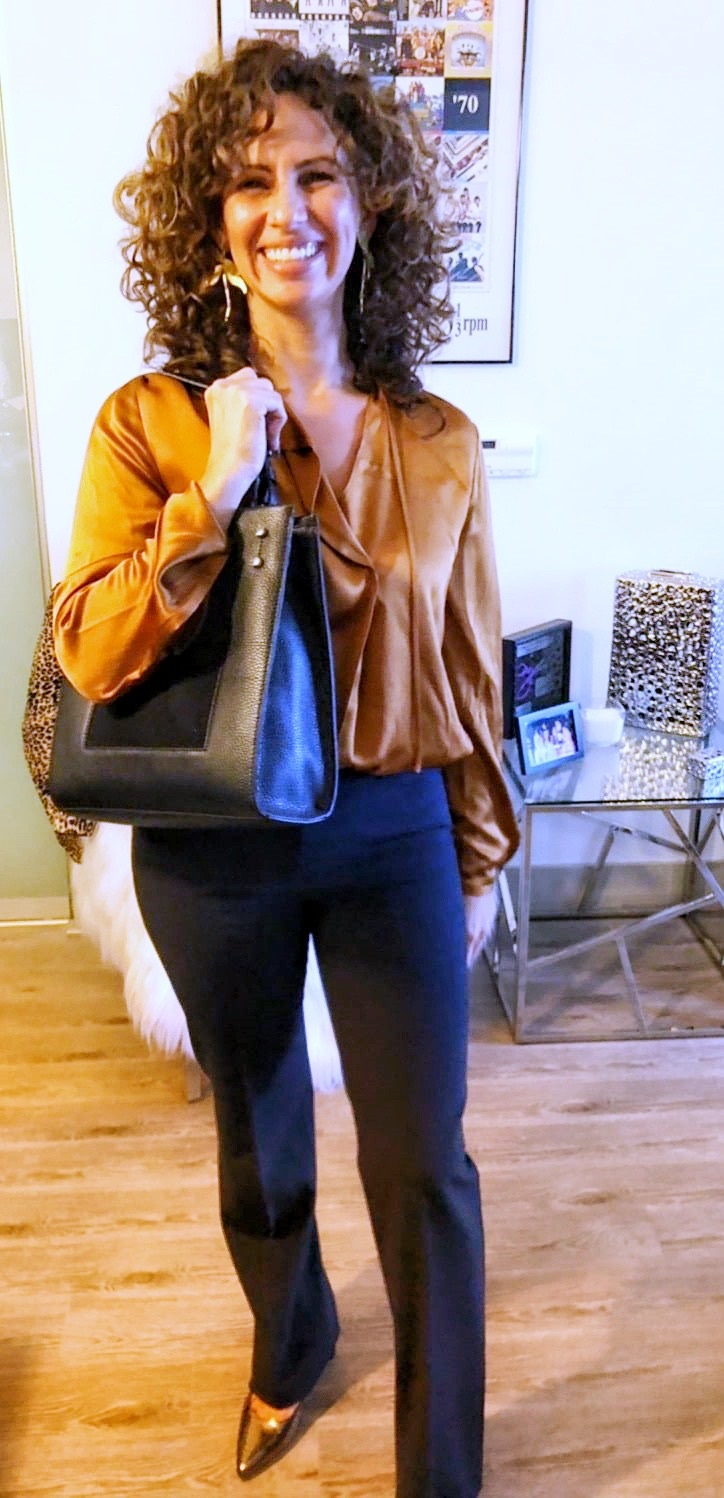 How to Create a Year-Round Capsule Wardrobe with 10 Staples, silk blouse, Theory copper blouse, theory navy pants, Donna Karan gold snakeskin high heels