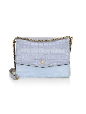 Monochromatic Style, blue monochromatic outfit, pale blue, Tory Burch Robinson crocodile embossed blue leather shoulder bag