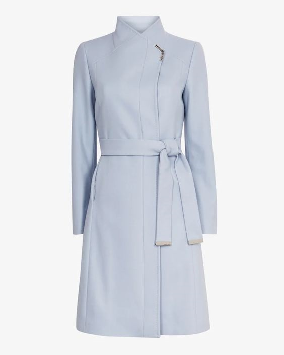 Monochromatic Style, monochromatic outfits, pale blue outfit, pale blue coat, Ted Baker ELLGENC long belted wrap coat