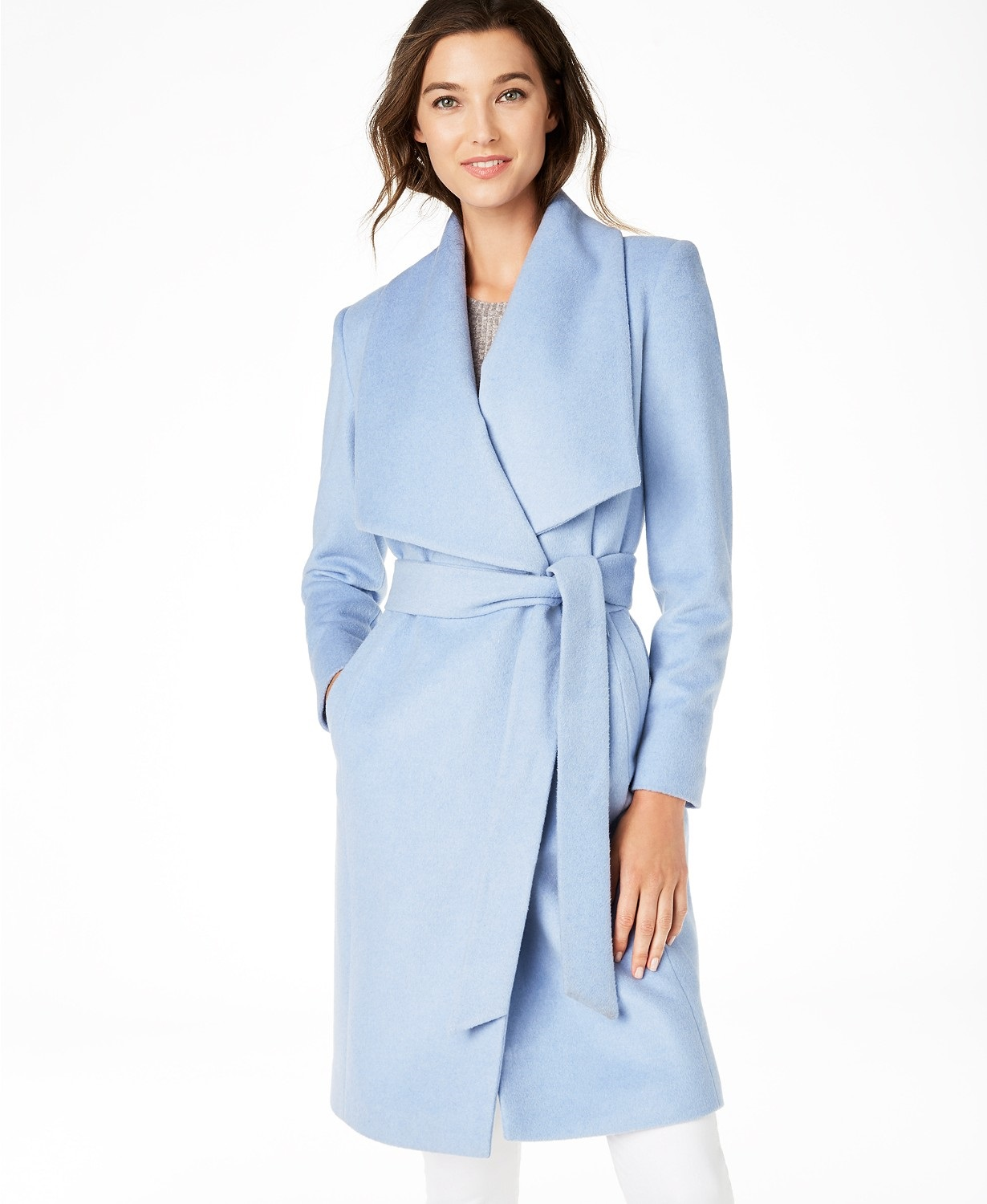 Monochromatic style, monochromatic outfits, pale blue outfit, Cole Haan ice blue wrap coat