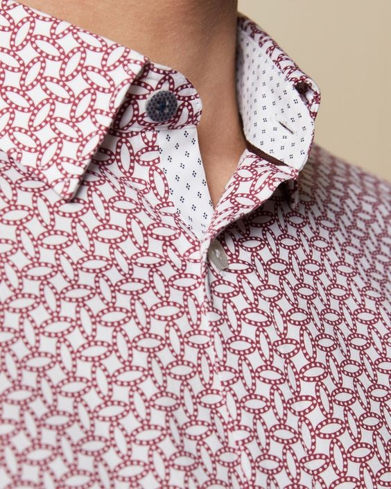 It's A Date: Flirty Looks + Gifts for Valentine's Day, Valentine's Day Gifts for You, Ted Baker red geo print shirt, men's red print button-down shirt