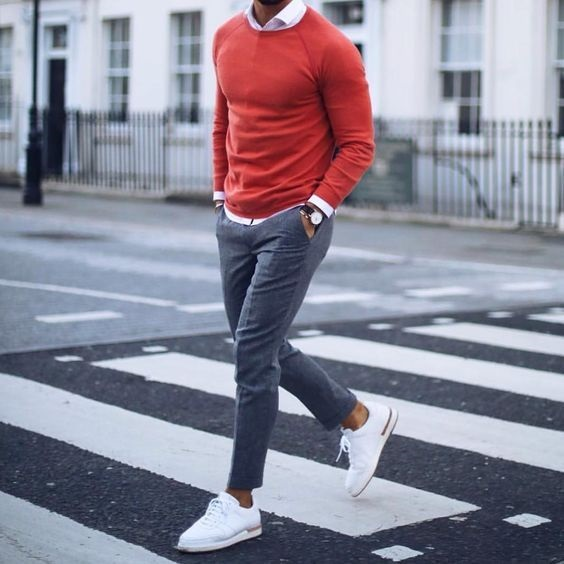 How to Create Men's Spring Capsule Wardobe in 8 pieces, men's colored sweater, men's spring outfit with bold color sweater and ankle length pants