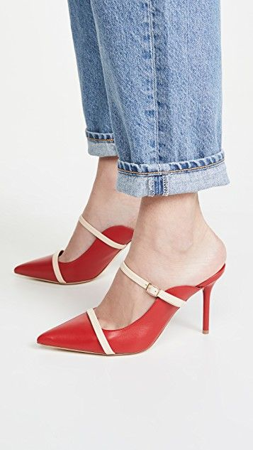 How to Create a Spring Capsule Wardrobe in 8 Pieces, women's spring shoes 2020, women's spring capsule wardrobe, mules and slides, Malone Souliers melody mules red