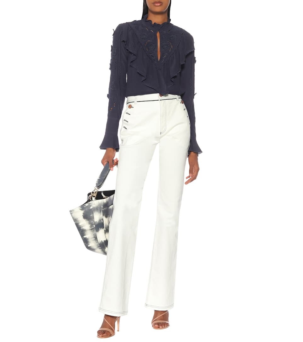How to Create a Spring Capsule Wardrobe with 8 Pieces, white jeans, SEE BY CHLOÉ high-rise white flared jeans