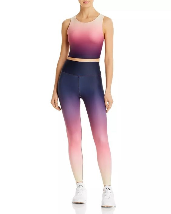 Sequester Style What to Wear When Working From Home, bold bright workout gear, AQUA ombre crop top and legging