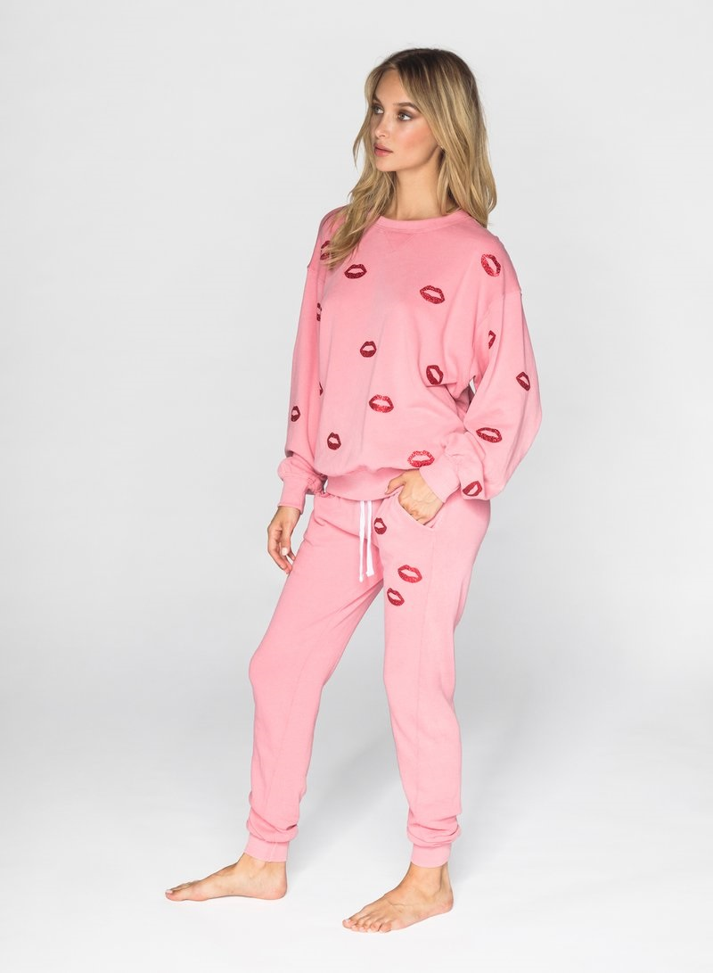 Sequester in Style What to Wear While Working From Home, women's loungewear, CHRLDR bubblegum pink glitter lips sweatshirt,