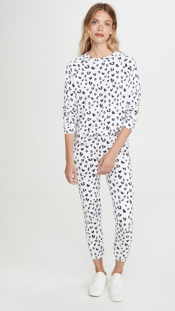 Sequester in Style What to Wear While Working From Home, women's loungewear, Monrow white with black hearts sweatshirt and sweat pants