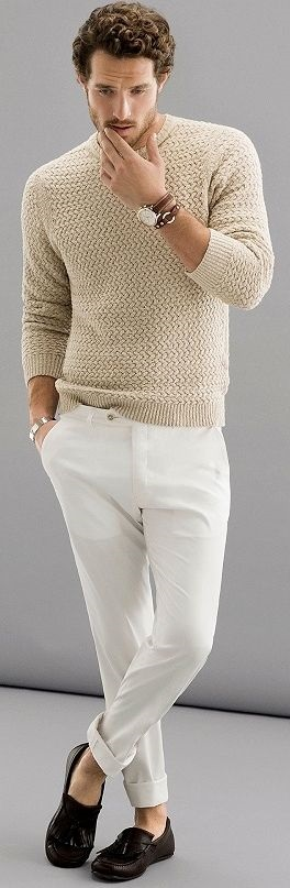 Spring Neutrals, beige and white outfit, men's beige sweater and white jeans