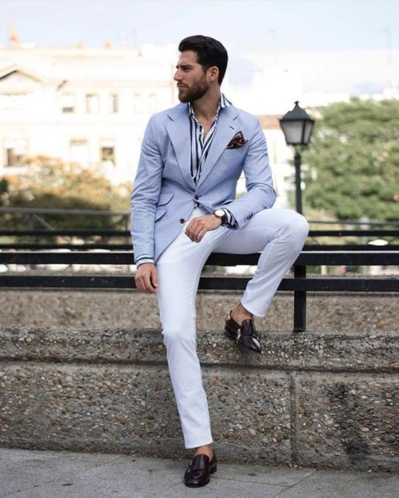Spring Neutrals, spring men's striped outfit, men's striped shirt, blue blazer, white pants