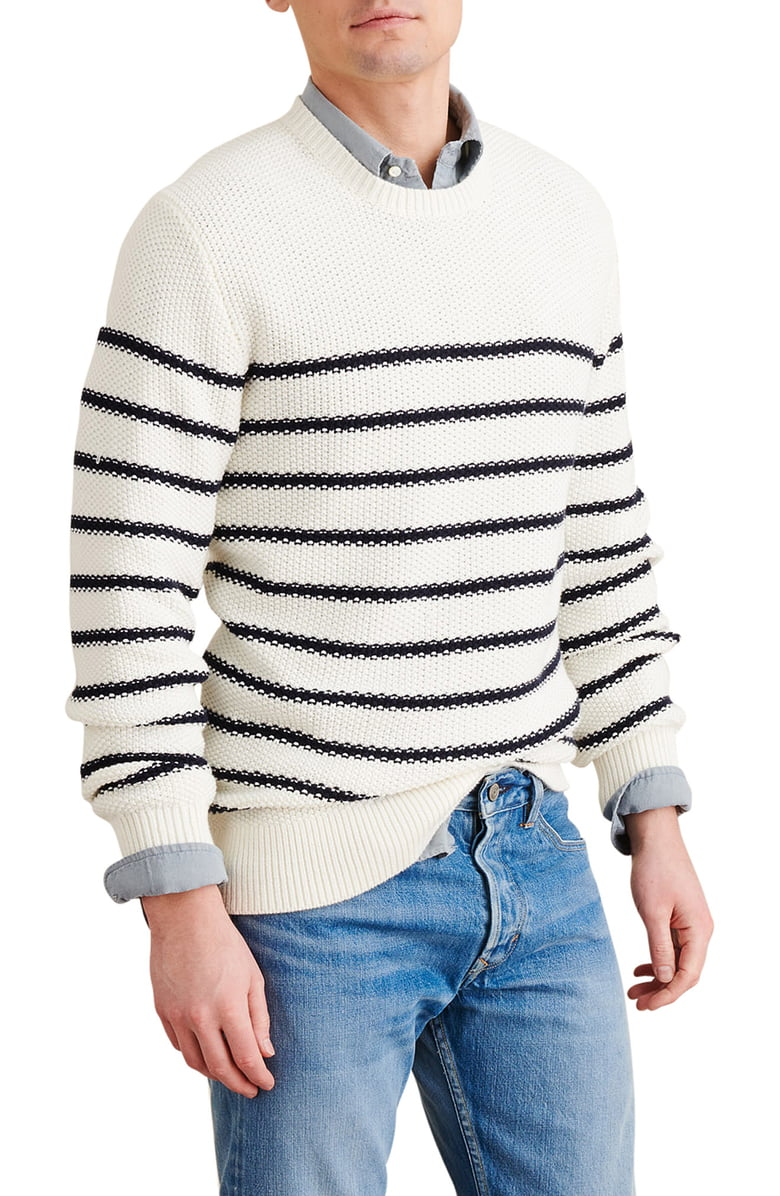 Spring Neutrals, spring men's striped outfit, men's striped sweater, Alex Mill textured stripe sweater