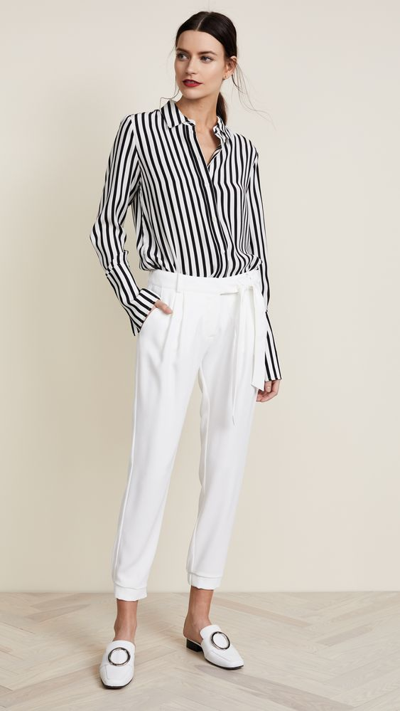 Spring Neutrals, spring neutral outfit, women's black and white spring outfit, Frame black and white striped blouse, Parker elliott white ankle length pants