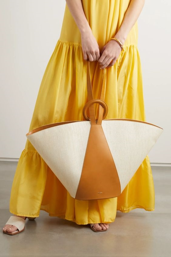 Summer Wardrobe Essentials, woven bags, Cult Gaia sand roksana canvas and leather tote