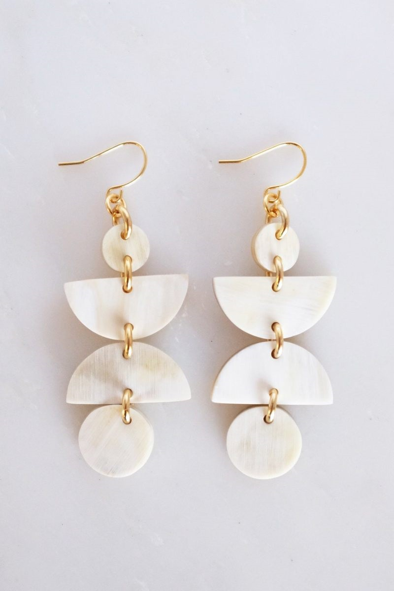 Summer Must-Have Accessories, horn jewelry, Hathorway HA GIANG GEOMETRIC BUFFALO HORN DANGLE EARRINGS