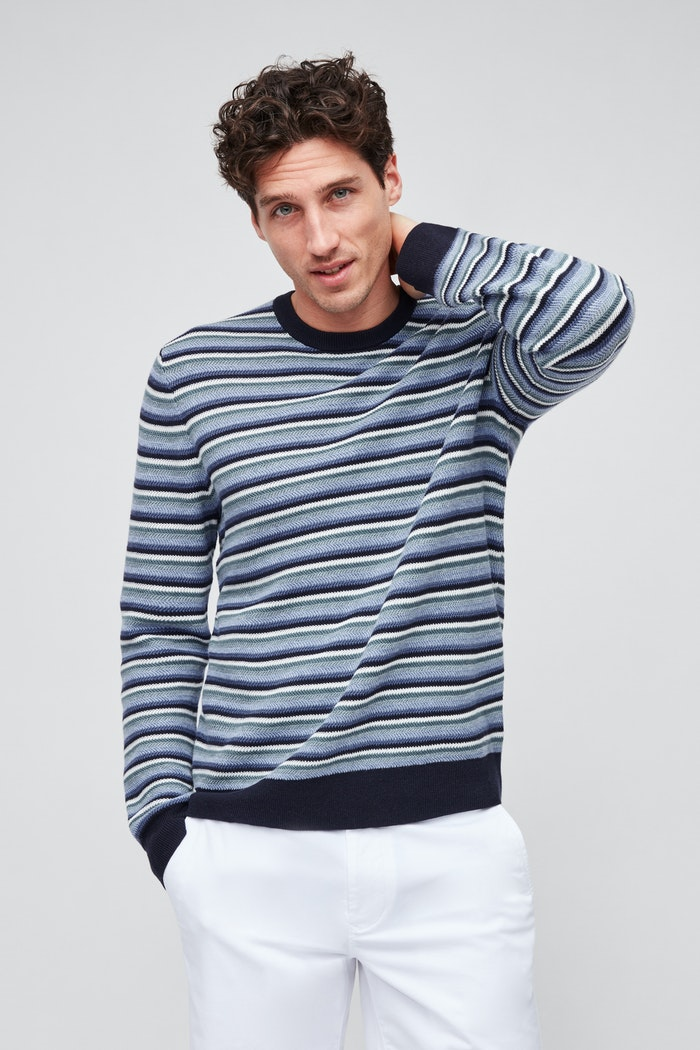 Sunny and Stylish Labor Day Weekend Outfits, Bonobos Cotton Linen Crew Neck Sweater blue multi stripe