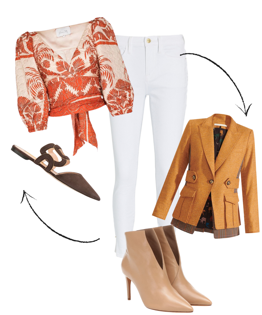 How to Transition Summer Pieces to Fall, women's white jeans, wear now wear later