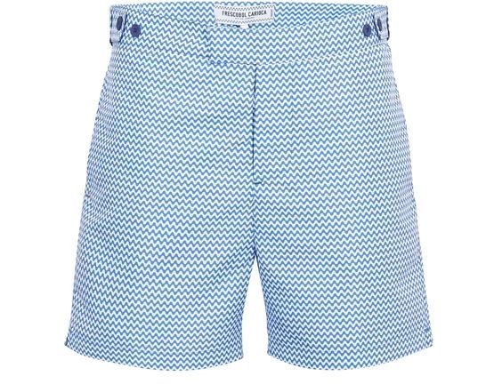 Sunny and Stylish Labor Day Weekend Outfits, what to pack for Labor Day getaway, Men's Copacabana blue and white swim shorts FRESCOBOL CARIOCA