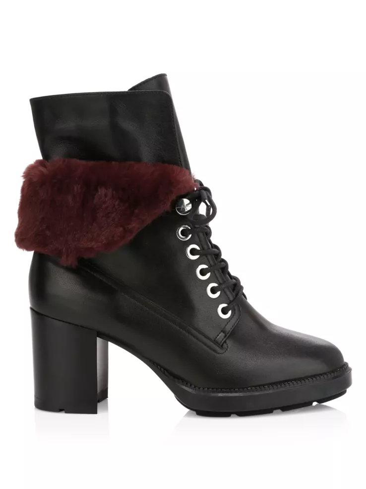 Shoe Trends Everyone Will Wear for Fall, women's combat boots, Aquatalia Idris Faux Fur-Trimmed Leather Combat Boots black burgundy