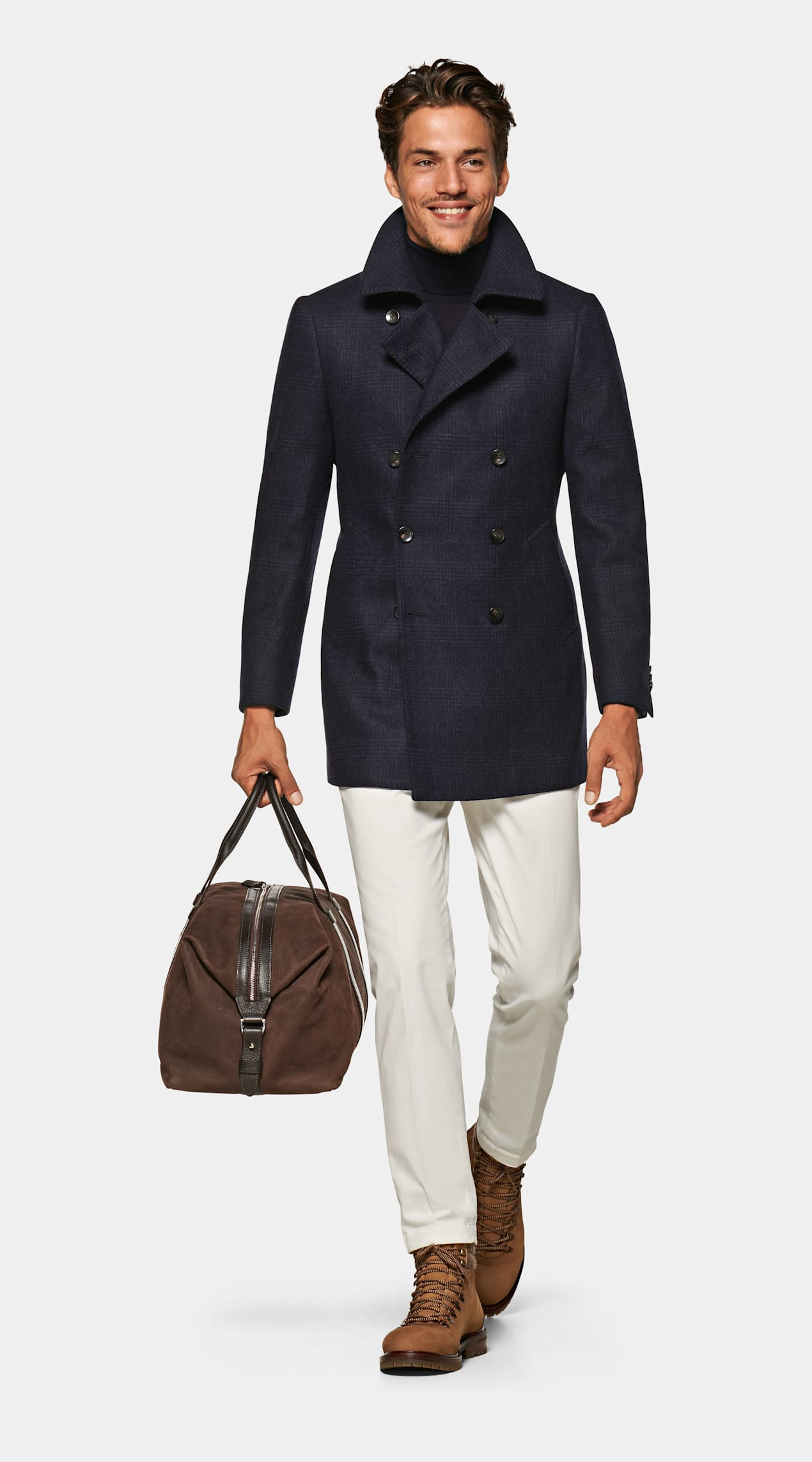 Power Outerwear...Cool Coats for Cool Days, men's print coat, men's print jacket, SUITSUPPLY Navy Check wool cashmere Peacoat
