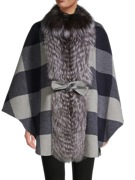 Power Outerwear...Cool Coats for Cool Days, plaid coats, women's plaid coat, BELLE FARE Silver Fox Buffalo Check Belted Cape